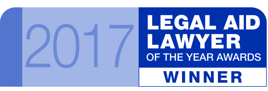 Winner oLegal Aid Lawyer of the Year Awards 2017 banner